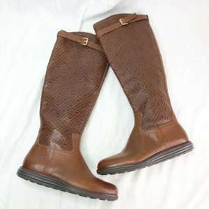 Cole Haan Woodbury Weave Knee High Leather Boots